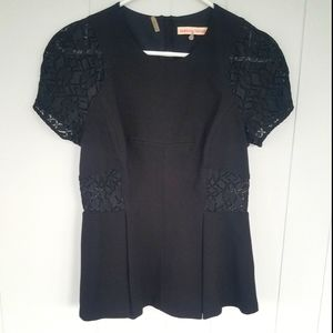 Rebecca Taylor Peplum Lace Trim Short Sleeve Top